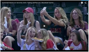 2. Alpha Chi Omega - Video 'sorority girls making selfies at a ballgame' (2015) - screenshot