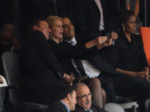 4. Obama, Cameron and Thorning Schmidt taking selfies at Mandelas memorial service (2013)
