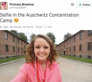 5. Breanna Mitchell - Tweet 'Selfie in the Auschwitz Concentration Camp' (2014)