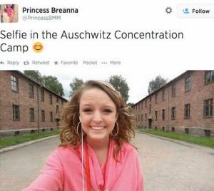 5. Breanna Mitchell - Tweet 'Selfie in the Auschwitz Concentration Camp' (2014)
